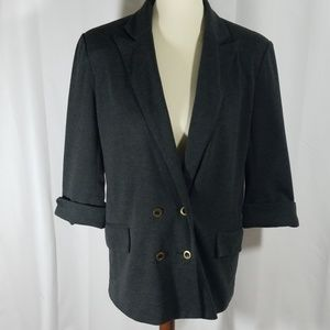 Anthro Cartonnier  gray cuff 3/4 sleeve blazer L